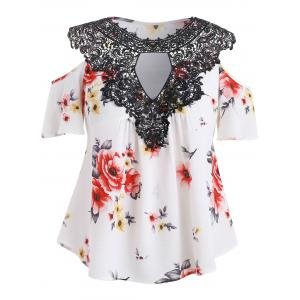 Plus Size Cold Shoulder Floral Blouse -