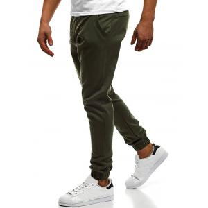 Button Decor Elastic Cuffed Jogger Pants -