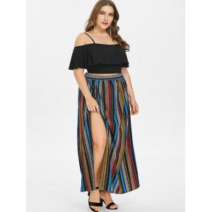 Plus Size Flounce Insert Crop Top and Striped Maxi Skirt -