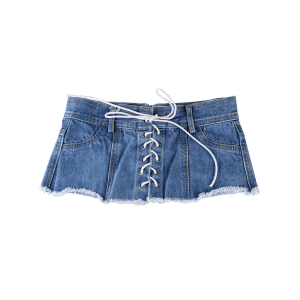 Stylish Denim Shorts Wide Waist Belt -