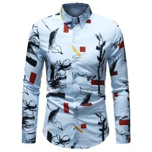 Long Sleeve Geometrical Ink Painting Print Shirt -