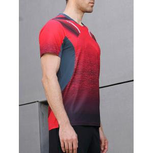 Color Block Sleeve Geometric Print Faster Moisture Absorption Tee -