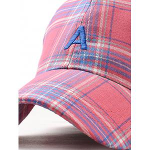 Vintage Letter A Embroidery Plaid Baseball Cap -