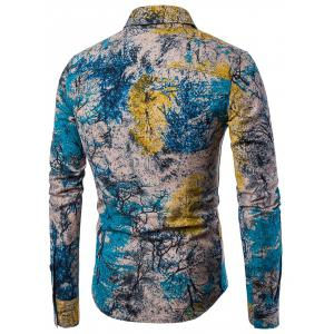 Tree Ink Painting Print Casual Shirt -