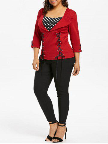 Fashion Lace Up Plus Size Polka Dot Insert Top