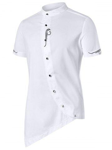 Shops Asymmetric Stand Collar Embroidery Shirt