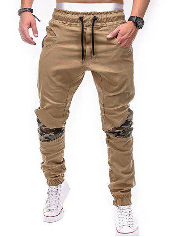 Affordable Drawstring Elastic Waistband Camouflage Patchwork Jogger Pants