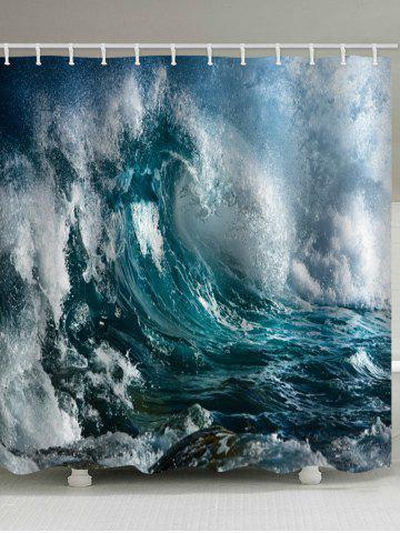 Cheap Sea Wave Printed Waterproof Bathroom Curtain