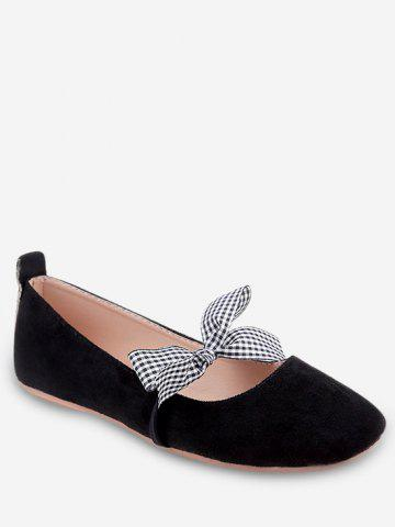 Trendy Plaid Bow Embellished Casual Ballet Flats