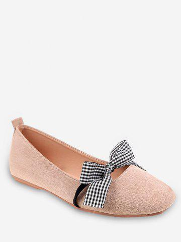 Sale Plaid Bow Embellished Casual Ballet Flats