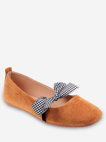 Cheap Plaid Bow Embellished Casual Ballet Flats