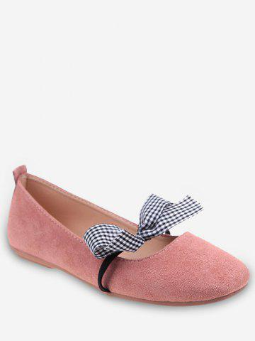 Latest Plaid Bow Embellished Casual Ballet Flats