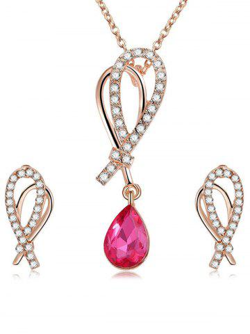 Rhinestone Inldai Water Drop Crystal Ожерелье и серьги Set