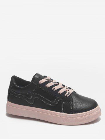 Discount Lightweight Color Block Letter Leisure Sneakers