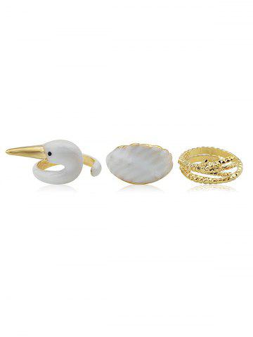 Swan Pattern Rings Set - Gold - One-size