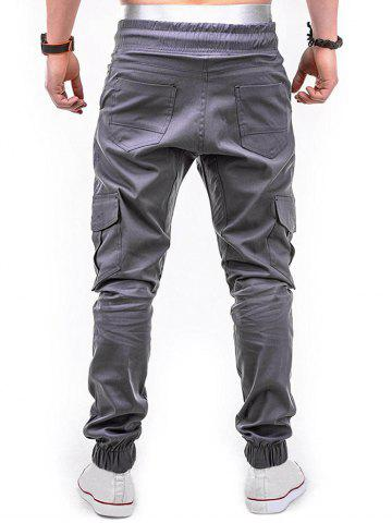 Drawstring Design Cuffed Solid Color Cargo Pants, Blue gray