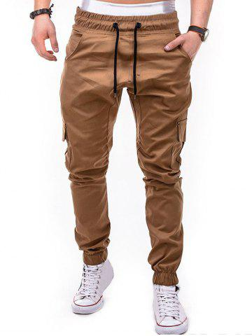 Fashion Drawstring Design Cuffed Solid Color Cargo Pants