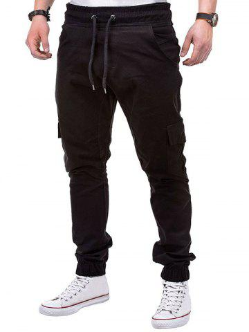 Drawstring Design Cuffed Solid Color Cargo Pants, Black