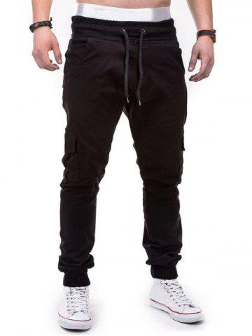 Discount Drawstring Design Cuffed Solid Color Cargo Pants