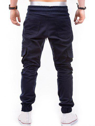 Drawstring Design Cuffed Solid Color Cargo Pants, Cadetblue
