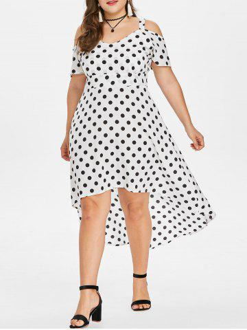 Affordable Plus Size Polka Dot High Low Dress