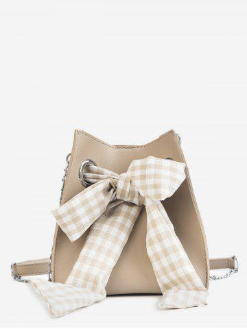 Outfit Bucket Leisure Checkered Bow 2 Pieces Crossbody Bag Set