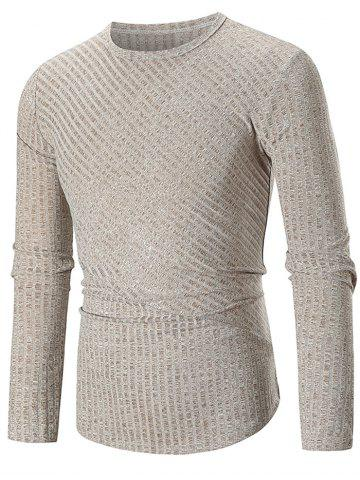 Discount Solid Color Texture Splicing Long Sleeve Tee