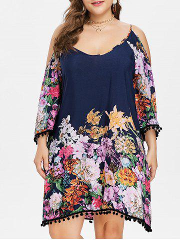 Plus Size Floral Knee Length Shift Dress - Dark Slate Blue - 5x