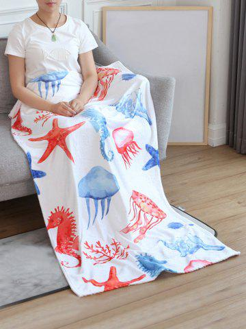 Online Jellyfish Seahorse Starfish Print Flannel Soft Bed Blanket
