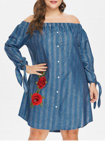 Online Off The Shoulder Plus Size Floral Embroidery Dress