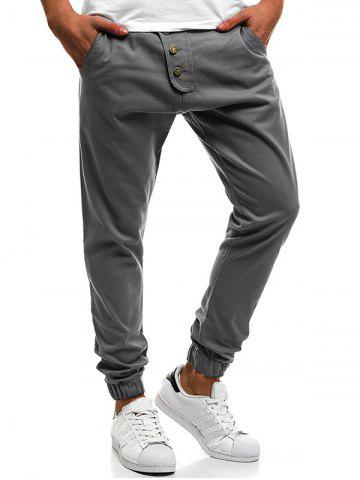 Outfits Button Decor Elastic Cuffed Jogger Pants