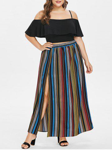 Buy Plus Size Flounce Insert Crop Top and Striped Maxi Skirt