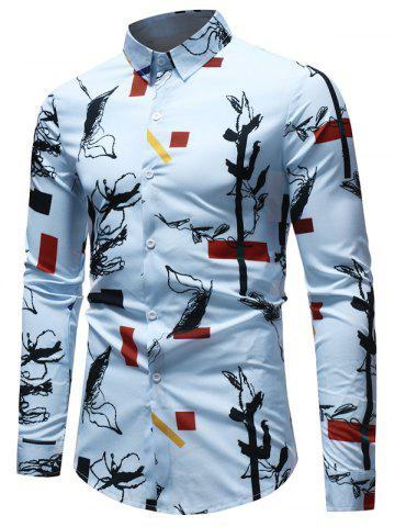 Hot Long Sleeve Geometrical Ink Painting Print Shirt