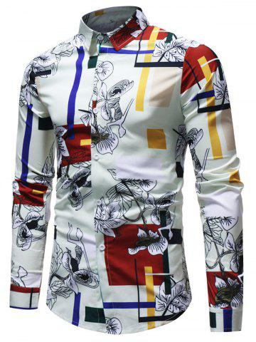 Latest Long Sleeve Rectangle Floral Printed Shirt