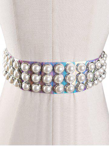 Unique Unique Faux Pearl PVC Jelly Waist Belt