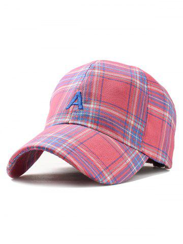 Sale Vintage Letter A Embroidery Plaid Baseball Cap