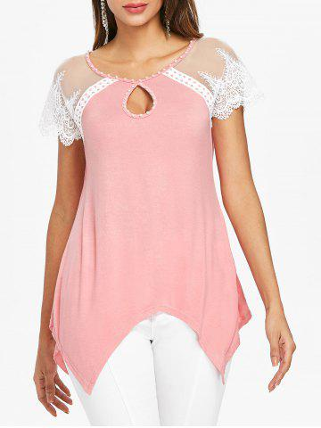 Affordable Cut Out Lace Panel Handkerchief Tee