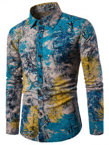 Chic Tree Ink Painting Print Casual Shirt