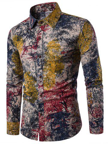 Discount Tree Ink Painting Print Casual Shirt