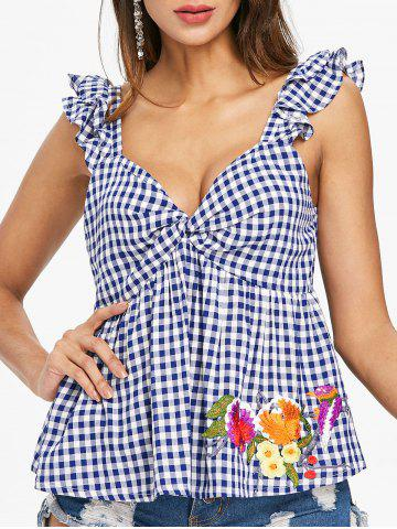 Embroidered Gingham Sleeveless Blouse - NAVY BLUE - S