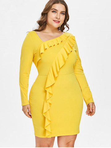 Yellow Long Sleeve Mini Dress - Free Shipping, Discount and Cheap ...