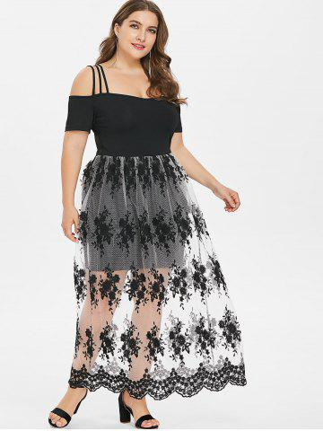 Plus Size Cold Shoulder Scalloped Maxi Dress