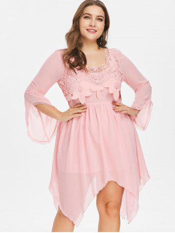 Plus Size Flared Long Sleeve Handkerchief Dress
