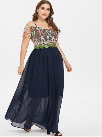 Plus Size Mesh Embroidered Maxi Dress