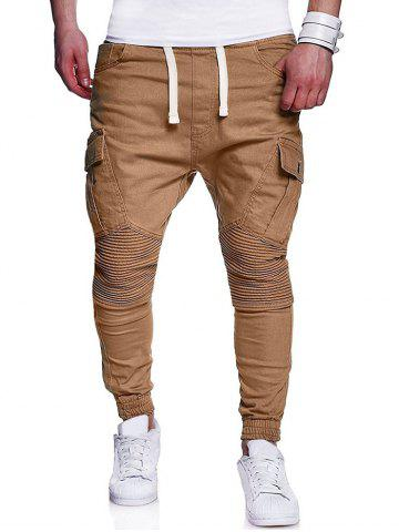 Pleated Elastic Cuffed Drawstring Casual Cargo Pants
