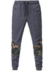 Drawstring Elastic Waistband Camouflage Patchwork Jogger Pants -
