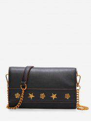 PU Leather Rivets Flapped Vintage Crossbody Bag -