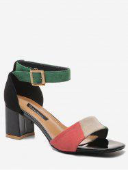Block Heel Color Block Ankle Strap Prom Sandals -