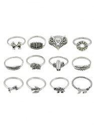 Animal Pattern Alloy Rings Set -