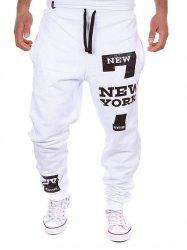 Number Letter Print Pocket Jogger Pants -